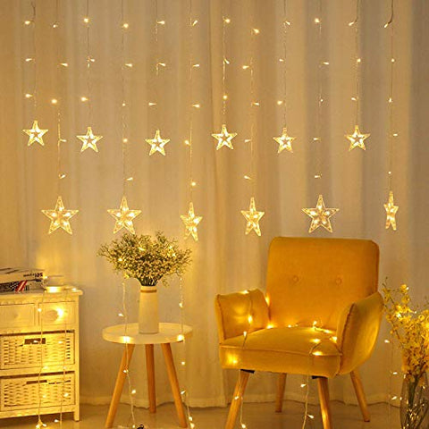 YUFIFAIRY Star Curtain Lights, 138 LED 12 Stars Remote Window Curtain String Lights Plug in with 8 Flashing Modes Decoration for Christmas, Wedding, Bedroom, Party, Birthday, 7.3ft(W)×3.3ft(H), Warm White