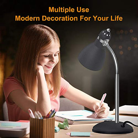 PERSARBO Metal Desk Lamp, Eye-Caring Table Lamp, Study Lamps with Flexible Goose Neck for Bedroom and Office (Sandy Black)