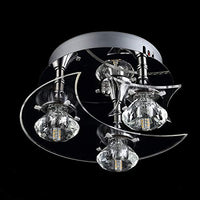 PabiPabi G4 LED Acrylic Crystal Ceiling Light Fixtures - Moon Star Style, H5.5'' x W9.5'', Pendant Flush Mount Lighting for Children Bedroom Kids Living Room