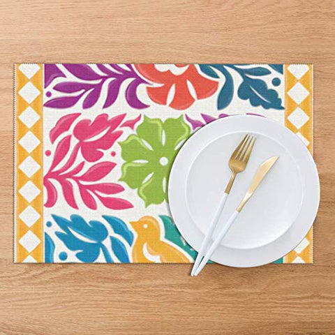 VEEJION Tablemats of textile Colorful Mexican Traditional Textile Embroidery Style Oaxaca Washable Placemats for Dining Table Double Fabric Printing Polyester Place Mats for Kitchen Table Mat 12X18 Inch