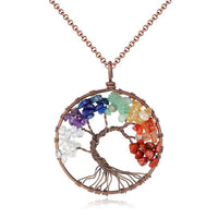 Chakra Crystal Necklace for Women - Natural Crystal Gemstone Tree of Life Pendant Healing Crystals Tumbled Stone Craft Art chakra Women necklace Gift Collection for women girls including handmade gems