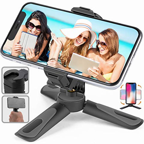 MECAKUCA Phone Tripod Stand, Portable Desktop Holder with Cold Shoe Mount for iPhone/Android Samsung, Camera GoPro/Mobile Cell Phone Smartphone, Lightweight
