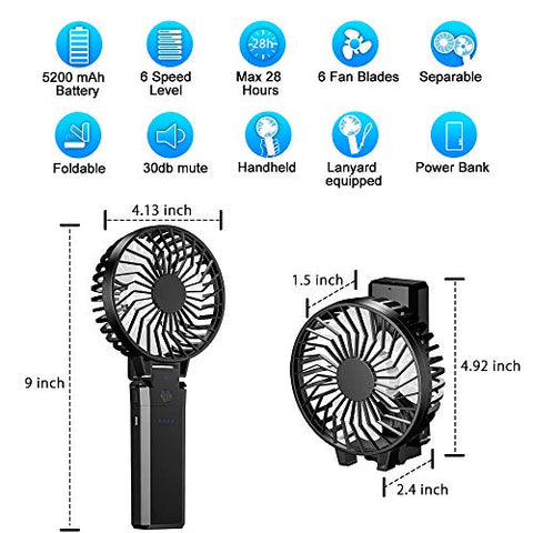 BETMONE Portable Handheld Personal Desk Fan,Battery Operated with 4-28 Hours Working Time/5200mAh Power Bank,6 Setting, Strong Wind,Foldable Design for Home Office Outdoors Camping Travel Activities