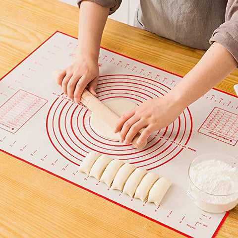 FOOEN Large Silicone Pastry Mat Extra Thick Non Stick Baking Mat with Measurement Fondant Mat, Counter Mat, Dough Rolling Mat, Oven Liner, Pie Crust Mat (16''(W)24''(L))