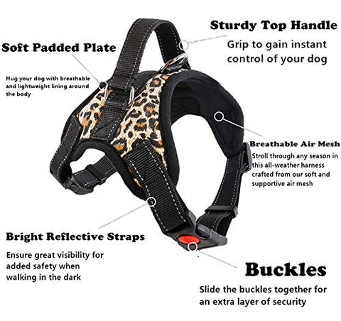 Matchy2u Ocean Camo Reflective Therapy Vest Harness for Large Dogs, Woven Polyester & Nylon, Adjustable Service Animal Jacket, with 2 Hook and Loop Dog Removable Patches