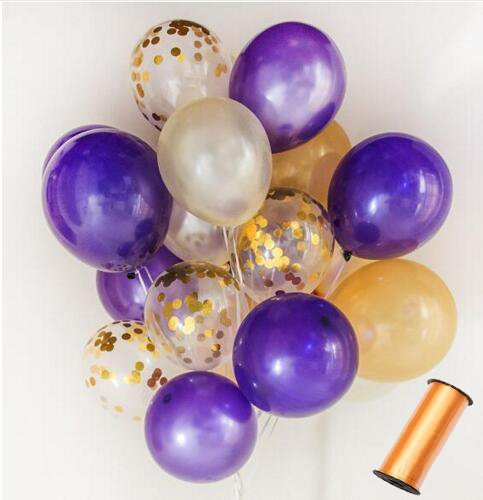110 Party Balloons + 100 Yards Gold Curling Ribbon Roll Set By Sogorge:34 Gold Balloons | 33 White Balloons | 33 Purple Balloons | 10 Gold Confetti Balloons - 12-Inch Opaque Latex Balloons For Parties