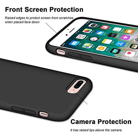Naciey iPhone 8 Plus Case, iPhone 7 Plus Case, Soft Silicone Gel Rubber Bumper Case Microfiber Lining Hard Shell Shockproof Full-Body Protective Case Cover for iPhone 7 Plus /8 Plus 5.5