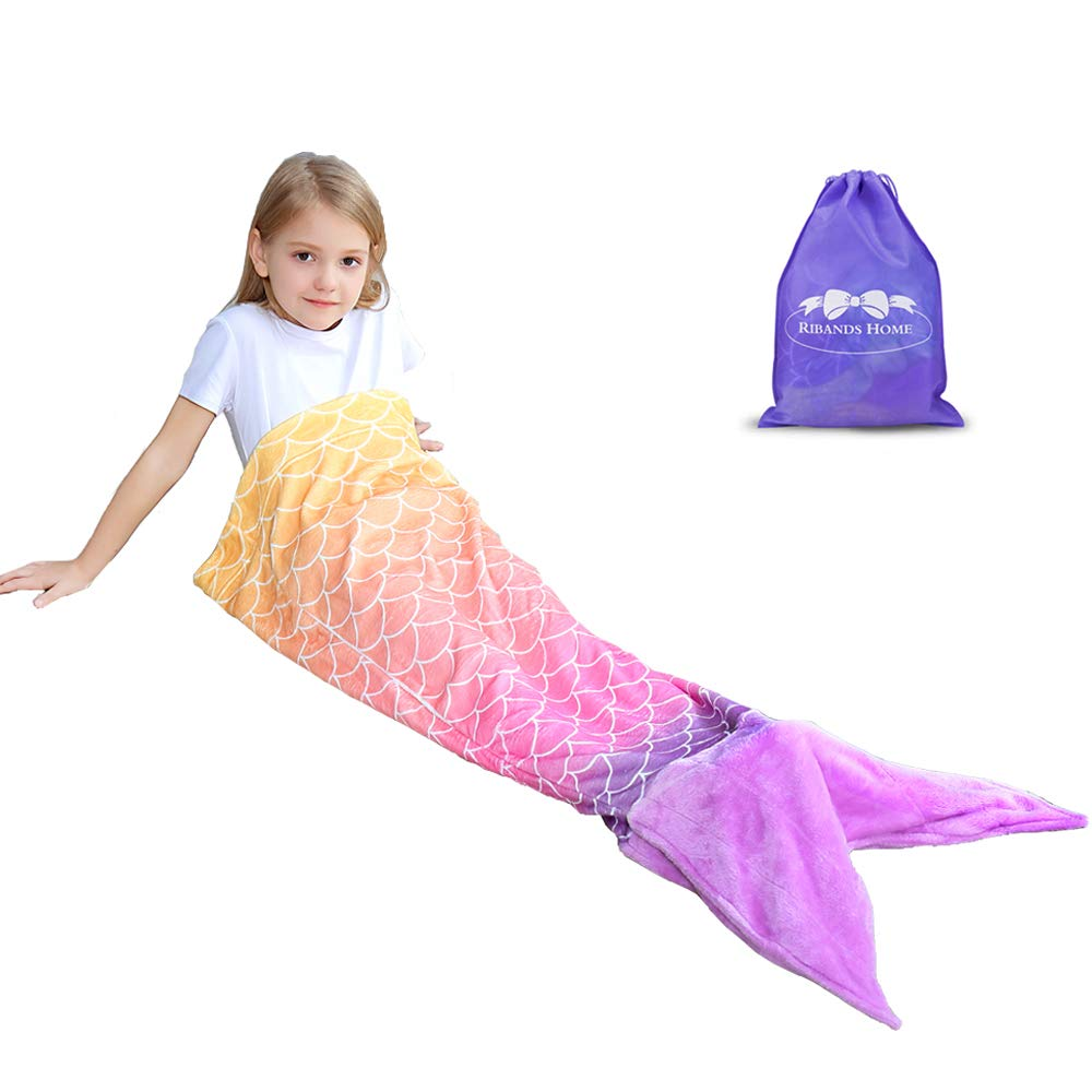 RIBANDS HOME Mermaid Tail Blanket| Super Soft Wearable Throw Blanket for Girls & Toddlers Wrapping Cover with Coral Orange Ombre Fish Tail - All Seasons Plush Sleeping and Napping Coverlet (Ages 3-16)