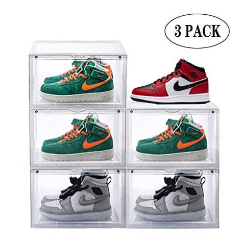 Mokrol Storage Shoes Box Womens Mens Sneaker Box Plastic Foldable Stackable Shoe Container Clear Closet Shelf Shoe Organize -3 Pack