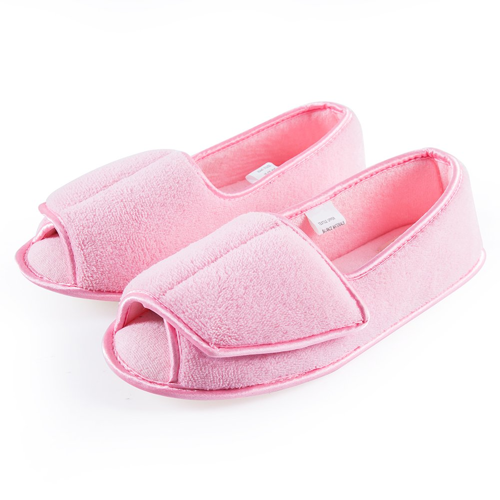 Git-up Women Diabetic Slippers/W Arthritis Edema Adjustable Closure Memory Foam House Shoes Open Toe 9#,Pink