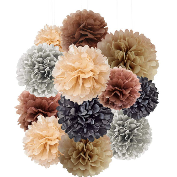 Tissue Paper Pom Pom Decoration, Rose Gold Paper Flowers Party Decorations Supplies for Wall Backdrop, Hanging Rainbow Flower Poms Ball DéCor for Baby Shower, Wedding, Birthday (12 Pack)