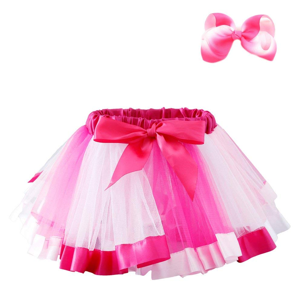 Unicorn Layered Rainbow Tutu Skirt Dress up with Colorful Hair Bow