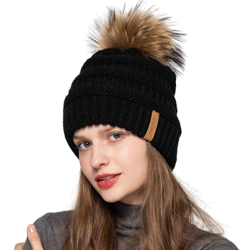 Jancoco Max Women Winter Knitted Beanie Hat - Warm Solid Skull Ski Caps Real Raccoon Fur Pompom Ball Furry Acrylic