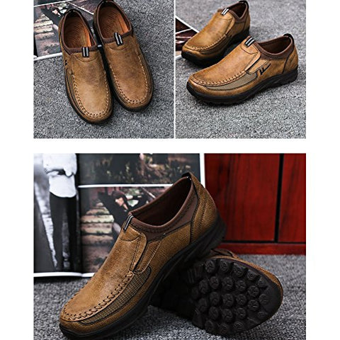 BNOP kids Large Size Loafer Shoes for Men Walking Shoes Fashionable and succinct Leisure Business Work Shoes (US Men 7.0, Brown)