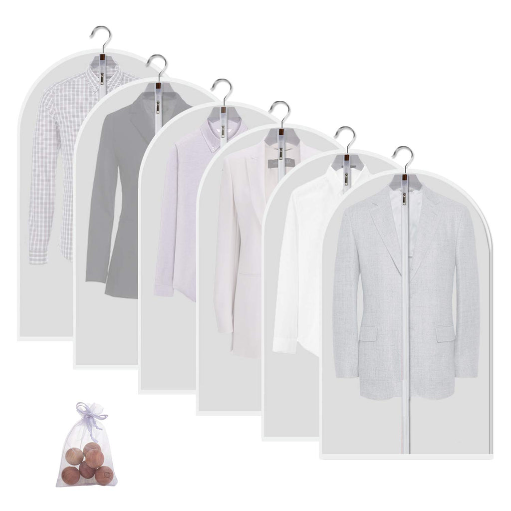 allhom dust Proof Garment Bags - Set of 6 pcs 40 inch Hanging Clothing Storage Bags and Cedar Balls,for Jacket, Shirt, Sweater, Suit