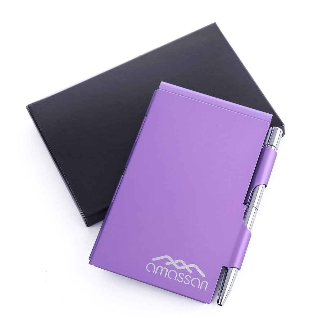 Metal Pocket Notebook Aluminum Note Case with Mini Pen and Notepad