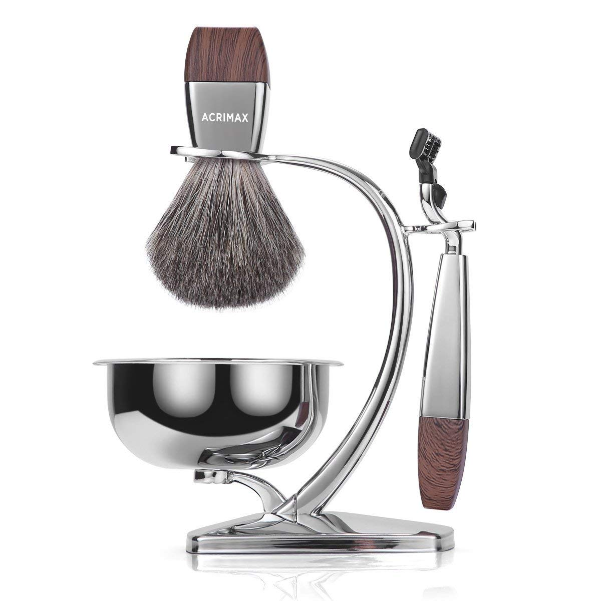 Premium Badger Shaving Brush Set with Stand and Brush holder