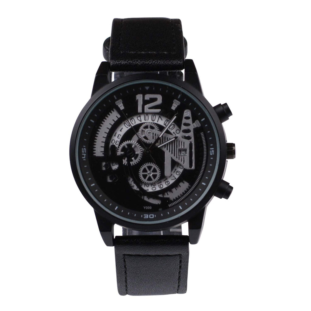 Mens Analog Quartz Wrist Watch Casual Fashion Analog Wrist Watch PU Leather Strap Black