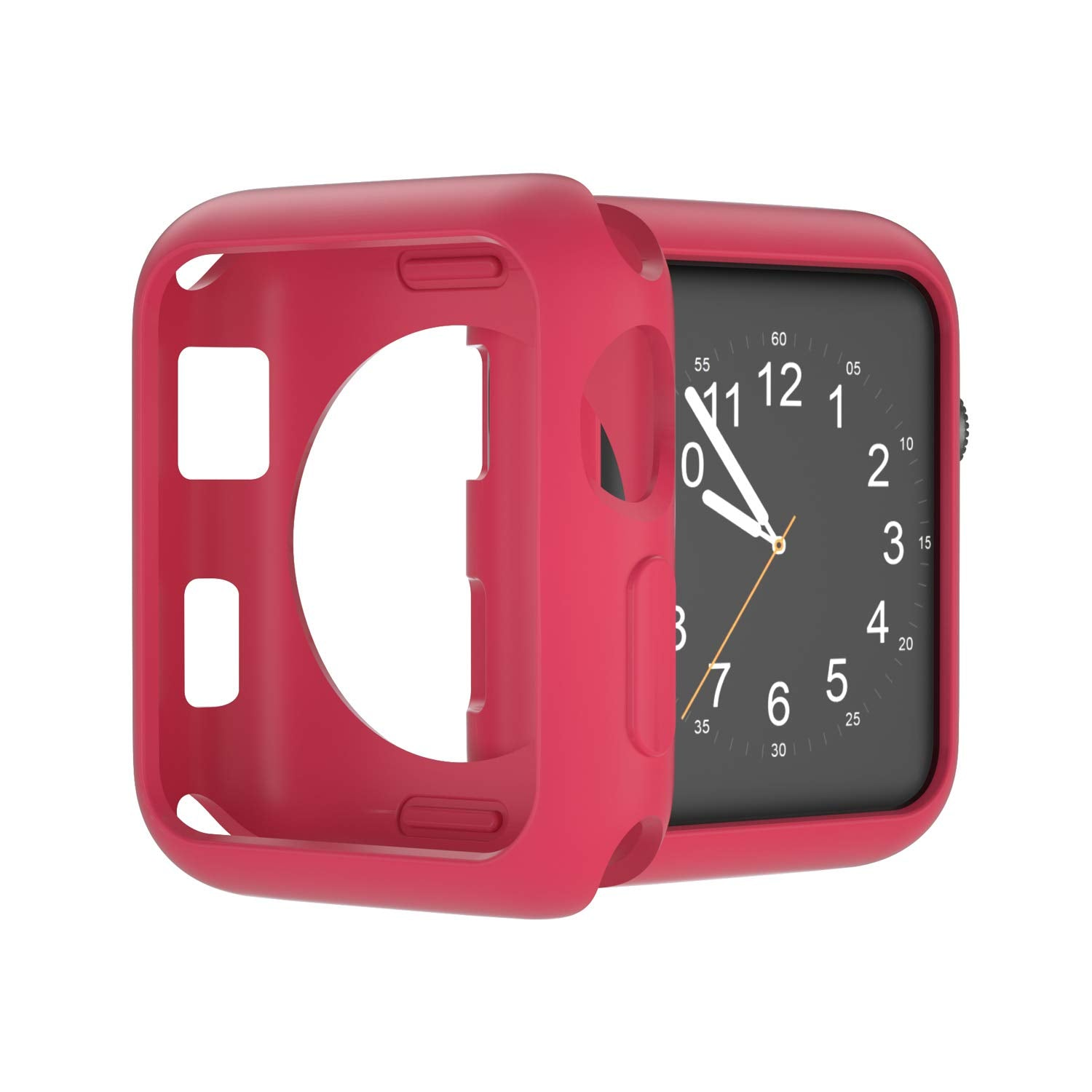 U191U Compatible with Apple Watch Case 38mm 42mm 40mm 44mm, Soft TPU Shockproof and Shatter-Resistant Protective Bumper Cover iwatch Series 5 4 3 2 Case (Red, 38mm Series 2/3)