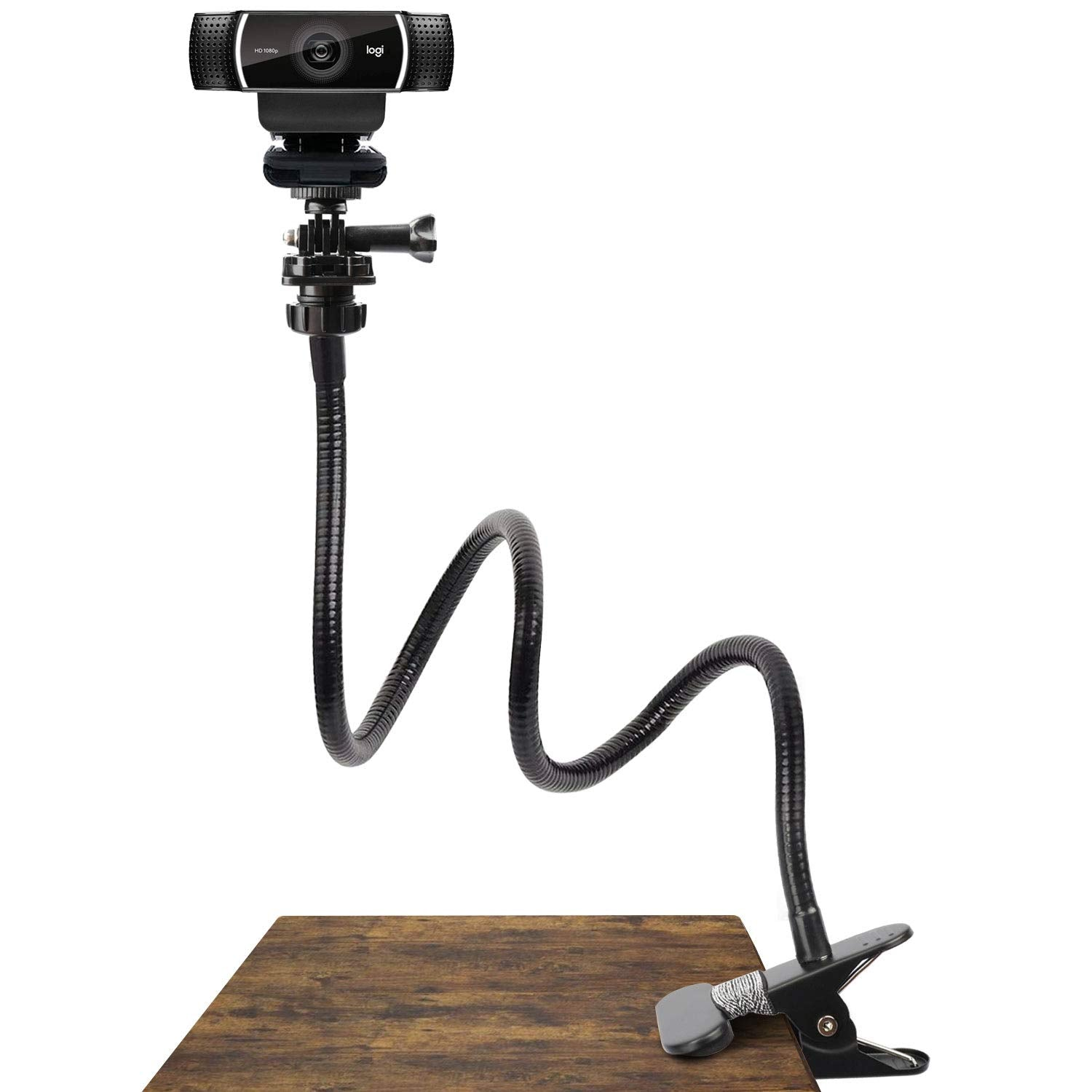25 Inch Webcam Stand - Flexible Desk Mount Clamp Gooseneck Stand for Logitech Webcam C930e,C930,C920, C922x,C922, Brio 4K, C925e,C615 by Pipishell