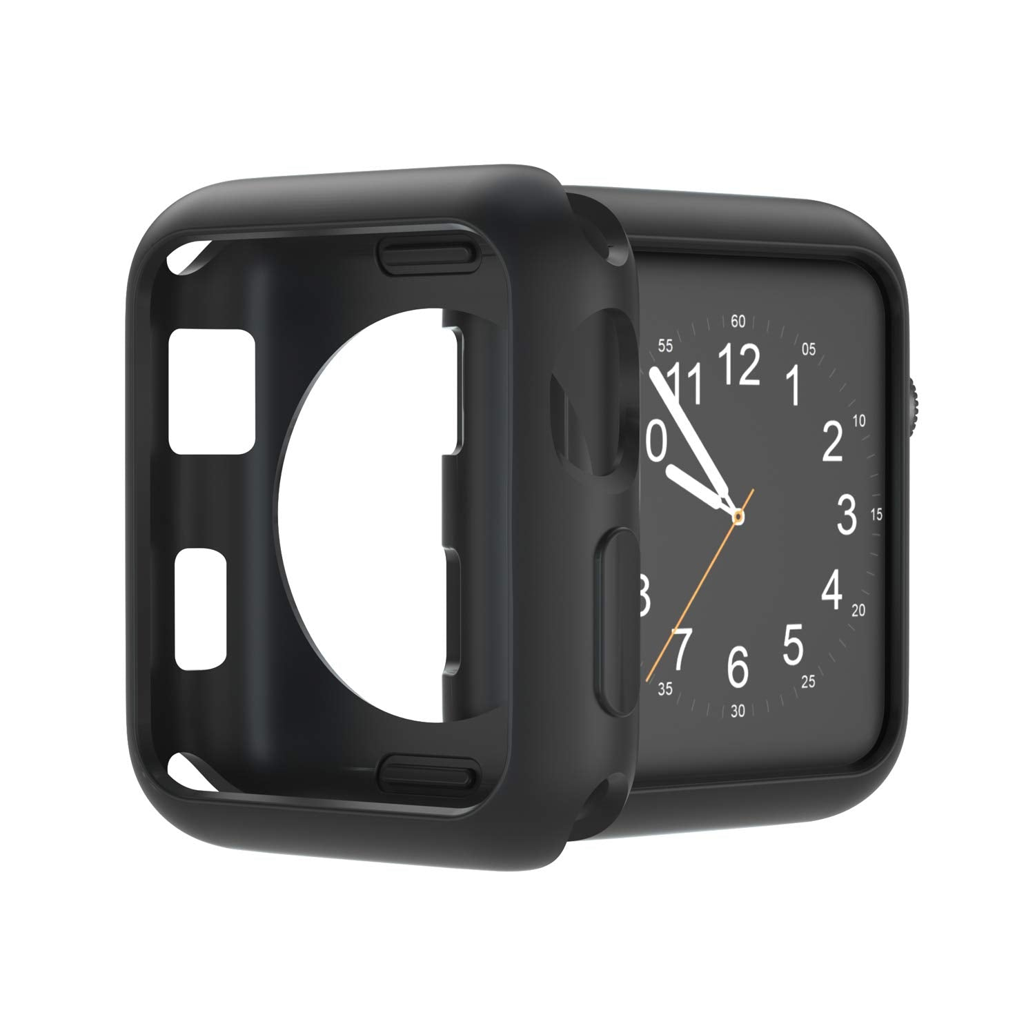 U191U Compatible with Apple Watch Case 38mm 42mm 40mm 44mm, Soft TPU Shockproof and Shatter-Resistant Protective Bumper Cover iwatch Series 5 4 3 2 Case (Black, 38mm Series 2/3)