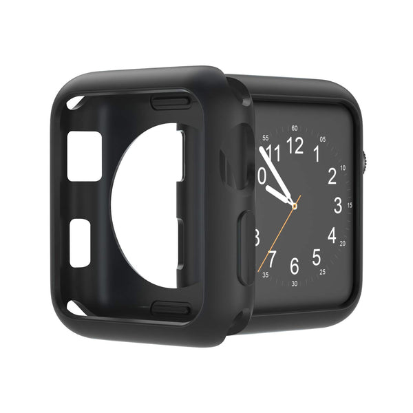 U191U Compatible with Apple Watch Case 38mm 42mm 40mm 44mm, Soft TPU Shockproof and Shatter-Resistant Protective Bumper Cover iwatch Series 5 4 3 2 Case (Black, 42mm Series 2/3)