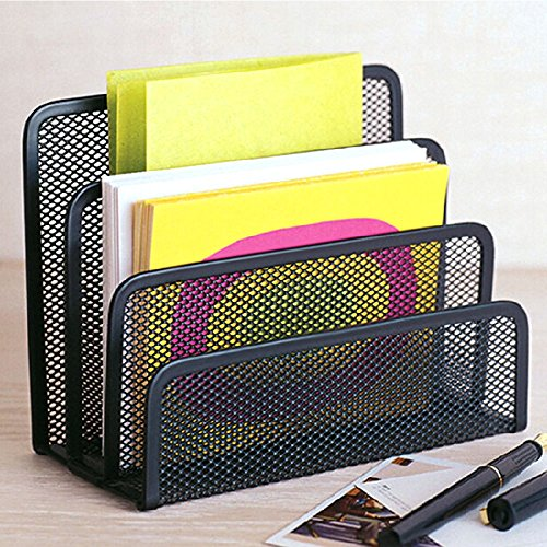 Damotk Desk Mail Organizer Small File Holders Letter Organizer Metal Mesh Document/Filing/Folders/Paper Organizer for Desktop