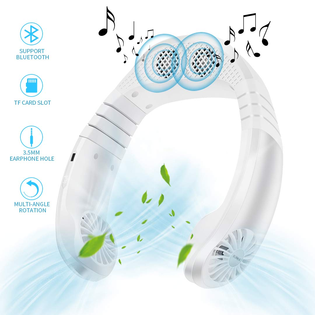 Portable Mini Cooler Fan with Bluetooth Speaker, 3 Speeds Personal Cooling System Necklace, USB Rechargeable Super Quiet Working, Hanfree Hanging Neck Fan for Summer Indoor Outdoor Travel (White)