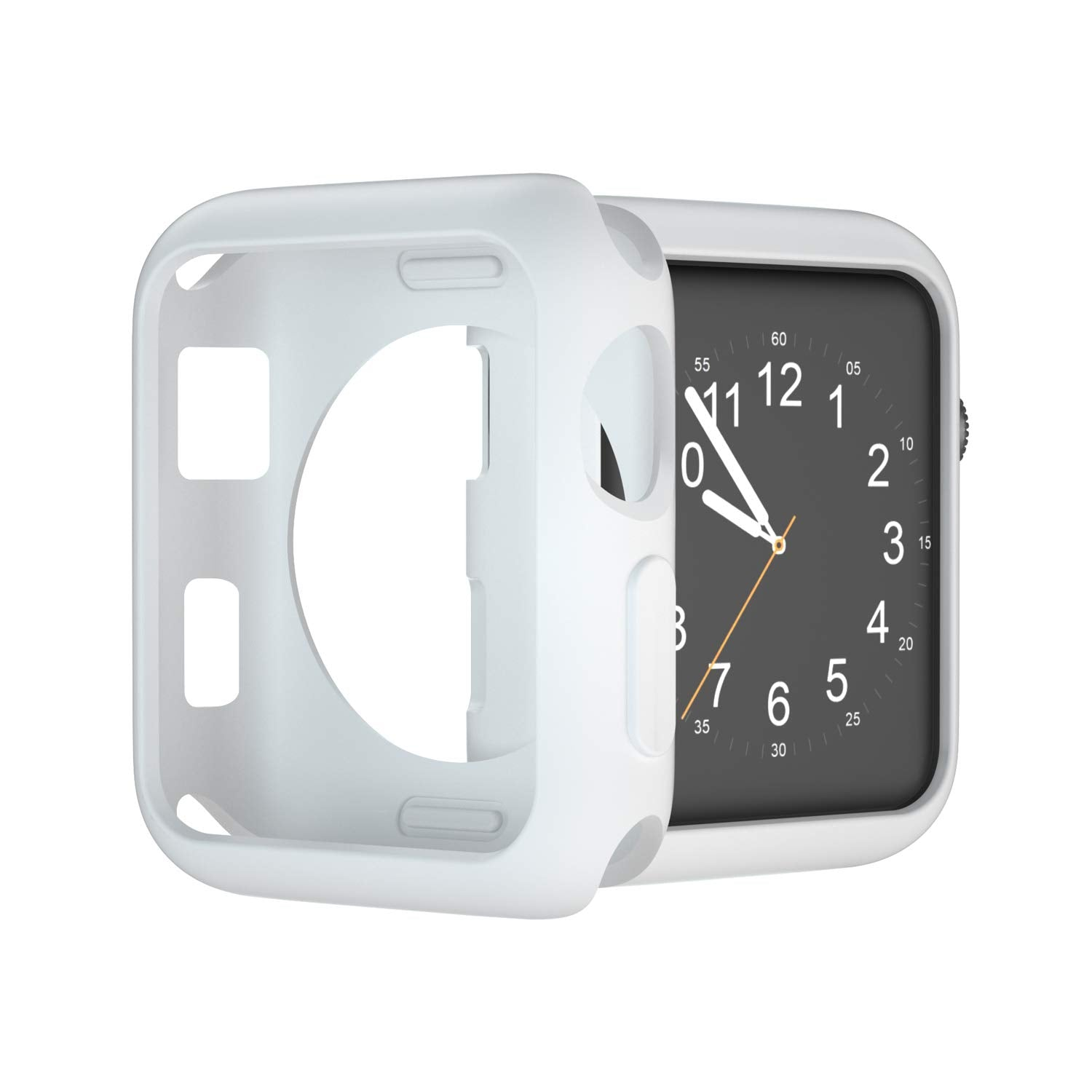 U191U Compatible with Apple Watch Case 38mm 42mm 40mm 44mm, Soft TPU Shockproof and Shatter-Resistant Protective Bumper Cover iwatch Series 5 4 3 2 Case (White, 38mm Series 2/3)