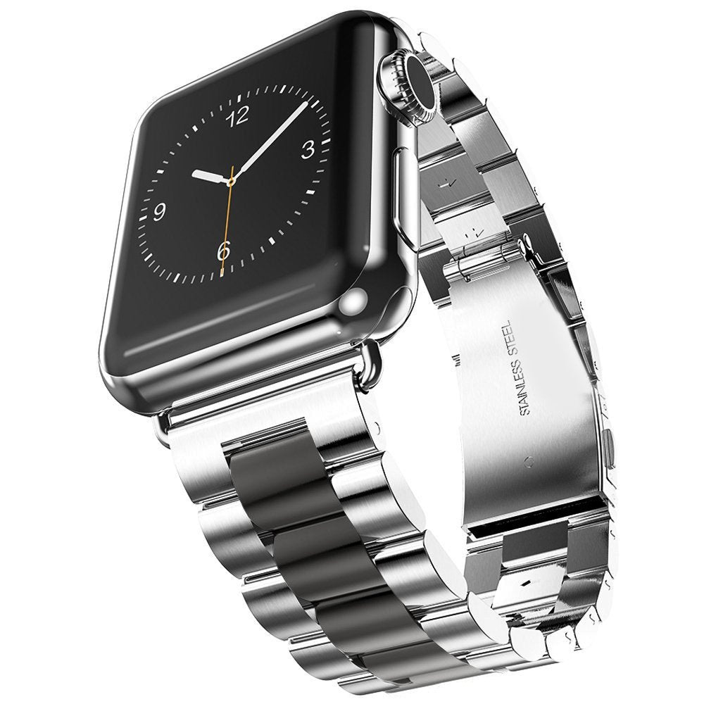 U191U Band Compatible with Apple Watch 38mm 42mm Stainless Steel Wristband Metal Buckle Clasp iWatch 40mm 44mm Strap Bracelet for Apple Watch Series 4/3/2/1 Sports Edition(Silver/Black, 42MM)