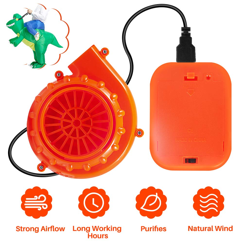 Orange Mini Fan Blower for Costume & Mascot Head Powered by USB Cable or 6V Battery ...