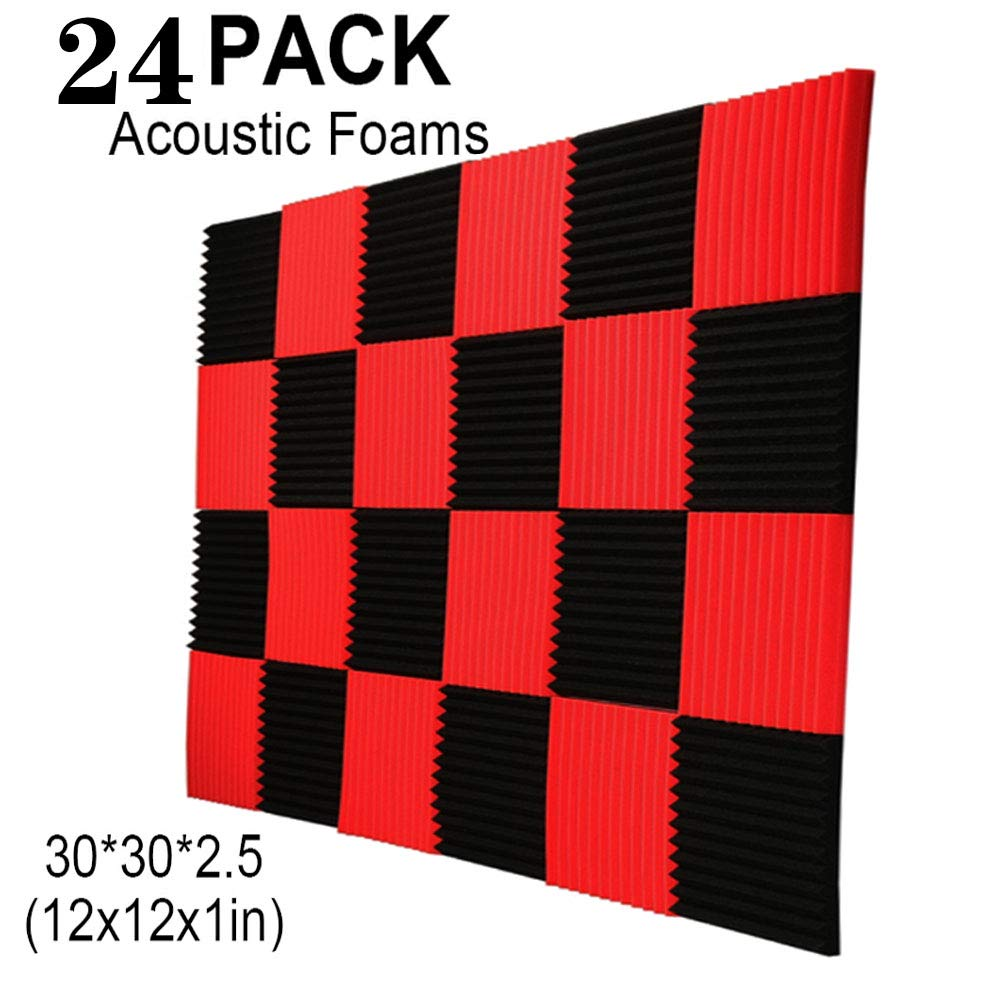 "24 Pack Black Acoustic Panels Studio Foam Wedges 1"" X 12"" X 12"" Sound-proofing,Sound Absorption (24pcs, Black&Red)"
