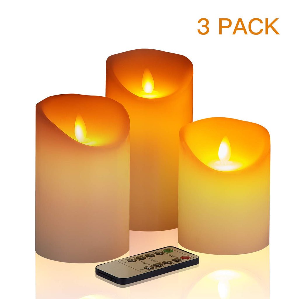 "Flameless Candles,4"" 5"" 6"" Set of 3 Battery Operated Pillar Real Wax, Include Realistic Dancing LED Flames and 10-Key Remote Control with 2/4/6/8-hours Timer Function, 300+ Hours."