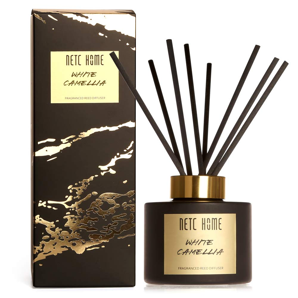 NETC HOME Home & Car Diffuser/White camellia/135 ml,4.6 fl oz/Scented Reed Oil Diffuser Set with Rattan Reeds for Bathroom Office & Stress Relief/Perfect Scent Gift Set -1NH0103