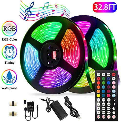 BETMONE Led Strip Lights Kit,32.8ft Waterproof Flexible Tape Light,Color Changing 5050 RGB 300 LEDs Light Strip Rope Lights with Timing Function,for Party,Bedroom,Bar,Home Decoration,with IR Remote