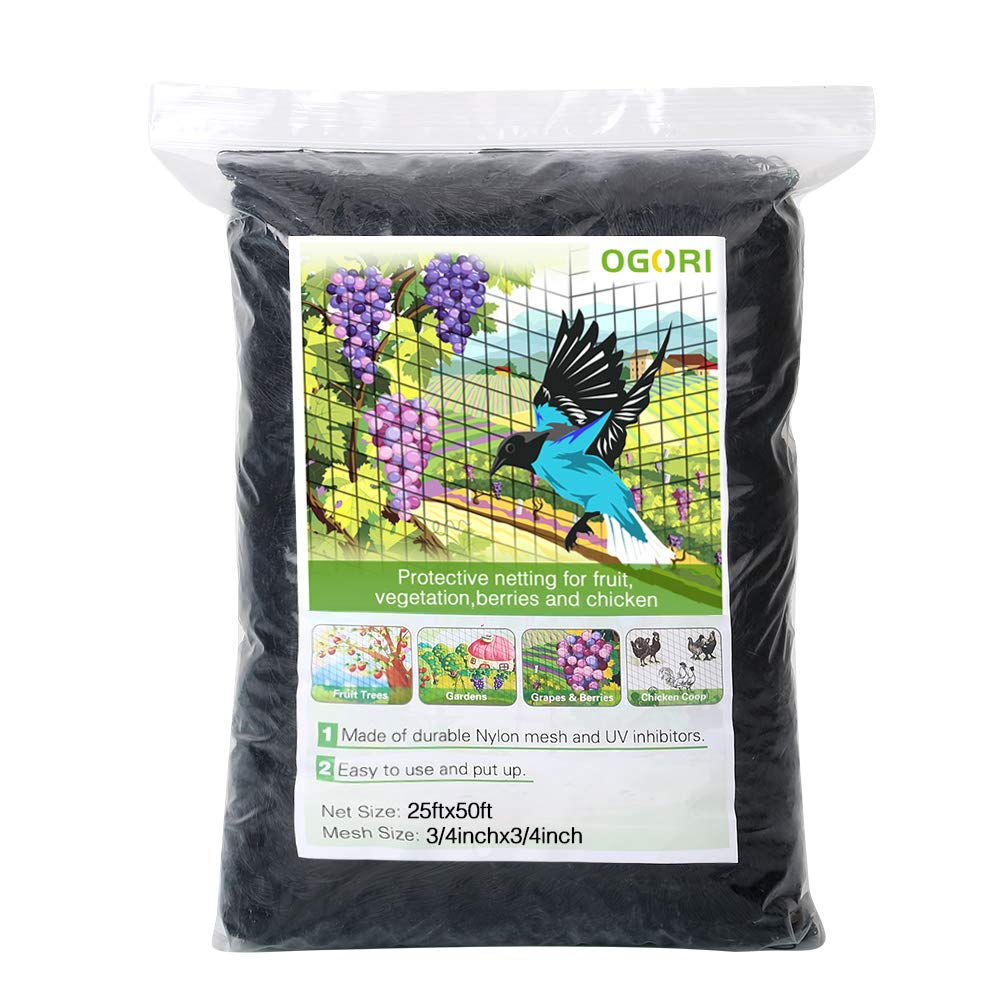OGORI 25 X 50 ft Bird Netting Poultry Netting Protect Plants and Fruit Trees Garden Net 3/4