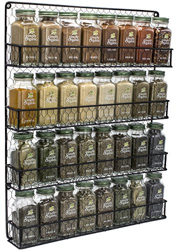 FOOEN Spice Rack Organizer [4 Tier] Country Rustic Chicken Herb Holder, Wall Mounted Storage Rack, Great for Storing Spices, Household Items and More (Black)