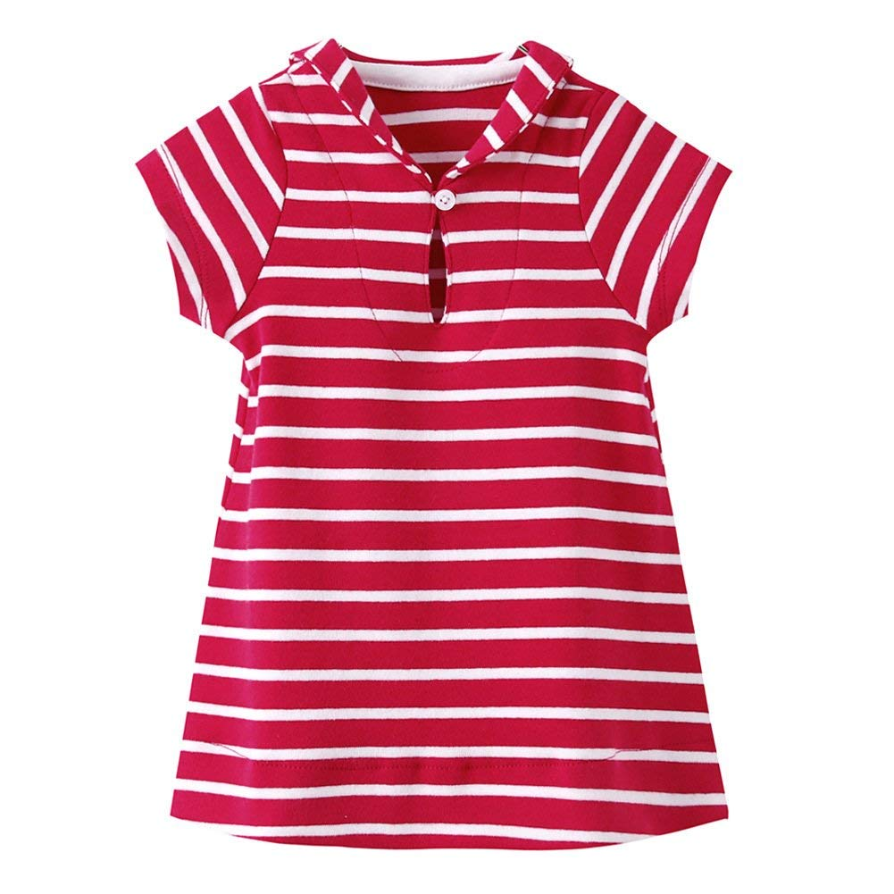 Baby Girls Striped Dress Short Sleeve Nautical Collar T Shirt Dresses
