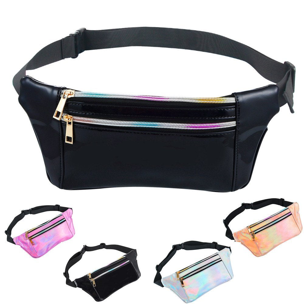 Holographic Fanny Pack with Adjustable Belt for Women