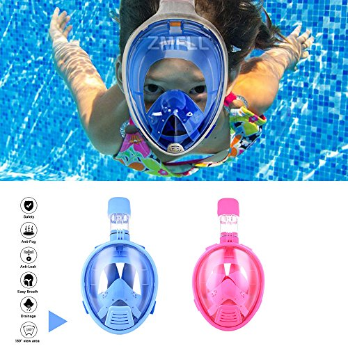 Kids Full Face Snorkel Mask - 180° View Panoramic Snorkel Gear