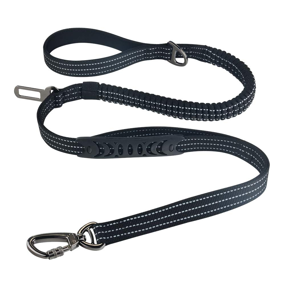 Bungee Dog Leash for Medium and Large Dogs, 4-6 FT Double Handle Reflective Dog Leash for Walking Training Heavy Duty, Multifunctional Dog Car Leash Seat Belt (Black)