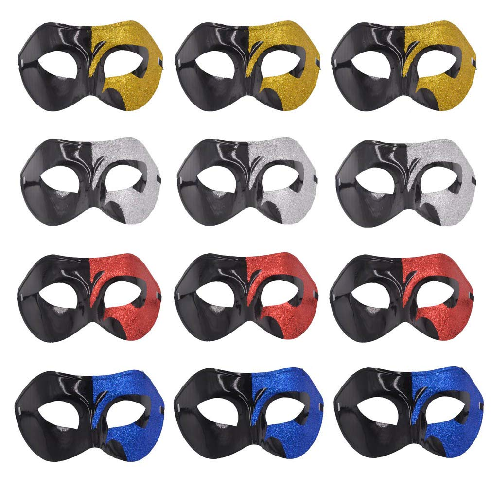 Yiseng Masquerade Mask Party Favors 12pcs Pack Mardi Gras Half Face Venetian Mask Dance Wedding Props (Mix A)
