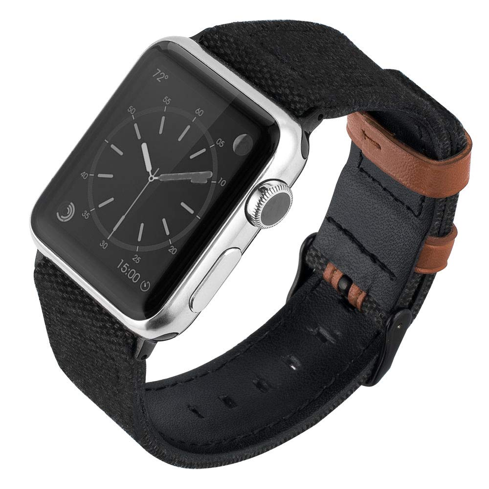 Quick Release Replacement Watch Band - Adjustable Wristband Canvas Genuine Leather Watchband Wrist Straps 38mm 40mm 42mm 44mm, Compatible with Apple Watch Series 5/4/3/2/1, Black, 42mm/44mm