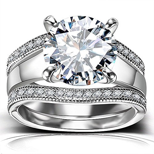 Platinum Plated Bridal Set - Round Cut Cubic Zirconia Rings
