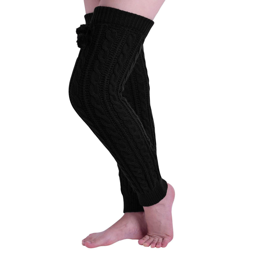Nanxson Women Girl Super Long Cable Knit Leg Warmers in Your Choice of Colors TTW0002 black
