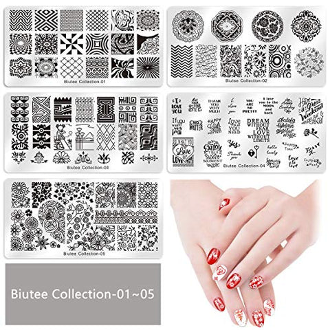 Damotk Nail Stamp Plates set 15 plate 1Stamper 2Scraper 1storage bag Nails Art Stamping Plate Scraper Stamper Set Leaves Flowers Animal Nail plate Template Image Plate