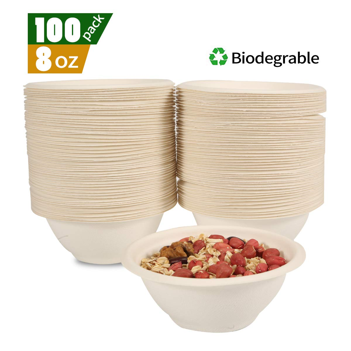 Biodegradable Compostable Bagasse Bowls - Eco Friendly Sugarcane Dinnerware - Recyclable and Leakproof,8 Oz,100 Pack