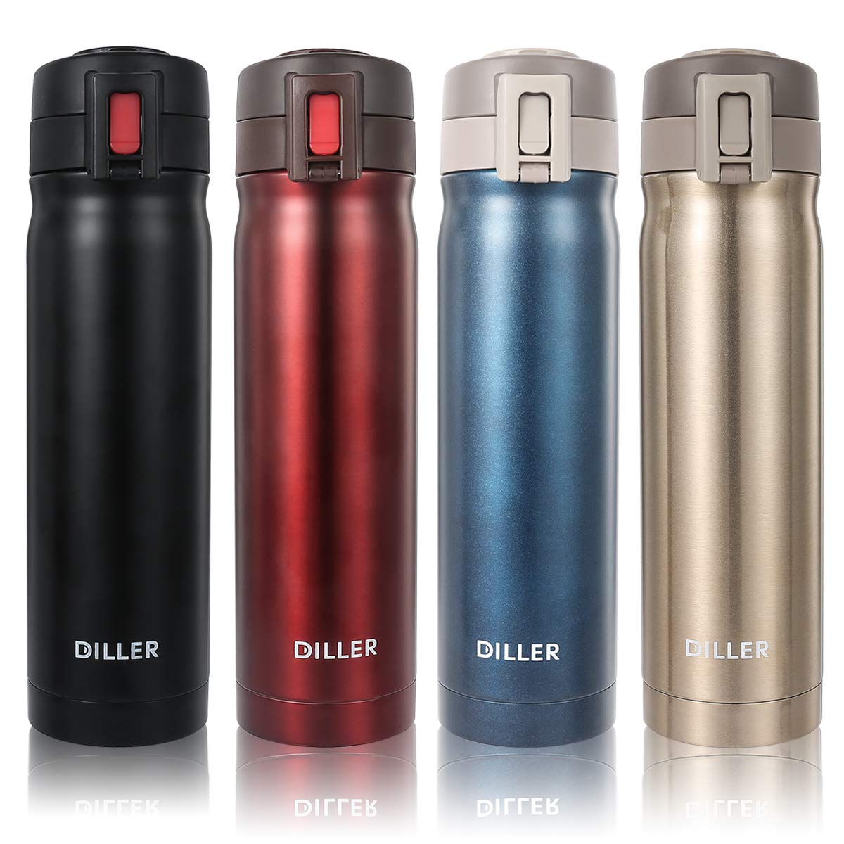 DILLER Vacuum Insulated Water Bottle - 17oz Thermos Coffee Travel Mug, Thermal Drink Flask with Handle Keeps 24 Hours Cold & 12 Hours Hot (Black, 17 oz)