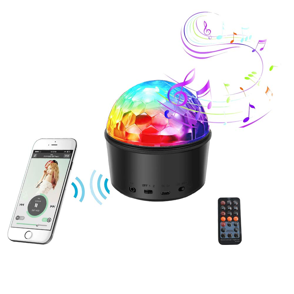 HaoTuo Disco Lights with MP3 player Projector Stage Crystal Lamp with Remote,bluetooth speaker for Holidays, Home Party,Bar,DJ,KTV,Birthday bedroom (with night light cover)