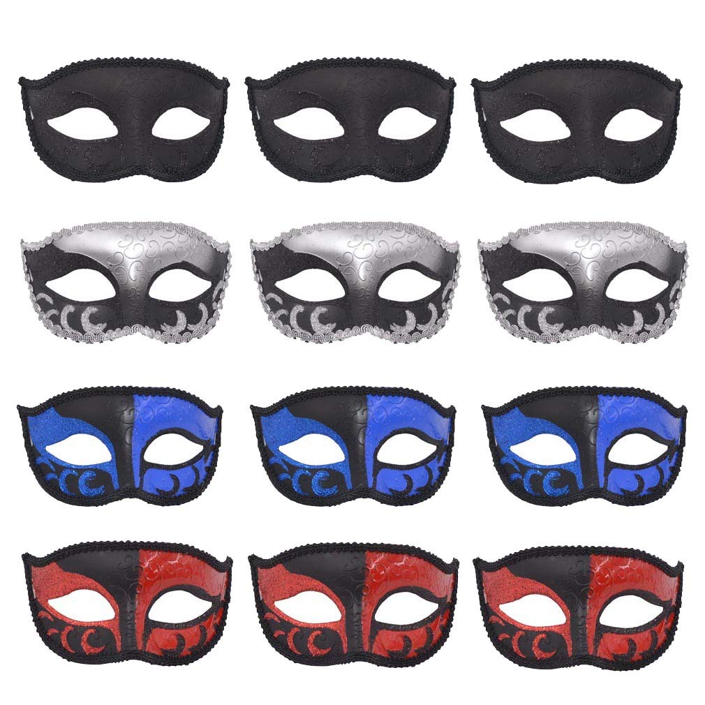 Yiseng Masquerade Masks Party Favors 12pcs Set Half Face Mardi Gras Masks Wedding Props